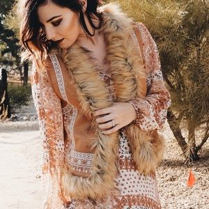 Super Soft Faux Fur Embroidered Woodstock Vest